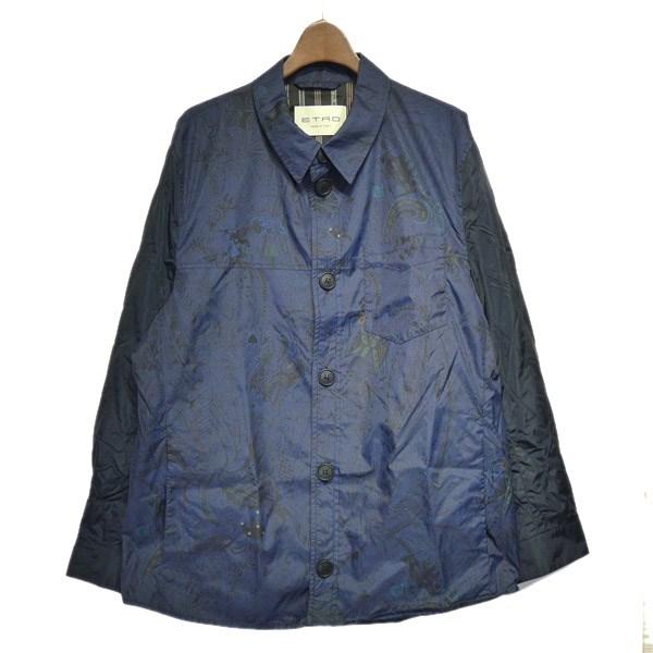 【中古】ETRO 総柄ナイロンシャツジャケット ネイビー サイズ:XL 【170120】(エトロ)