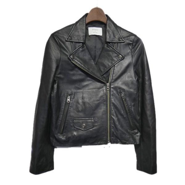 【中古】STUDIOUS シャインダブルライダースジャケット ブラック サイズ:0 【170120】(ステュディオス)
