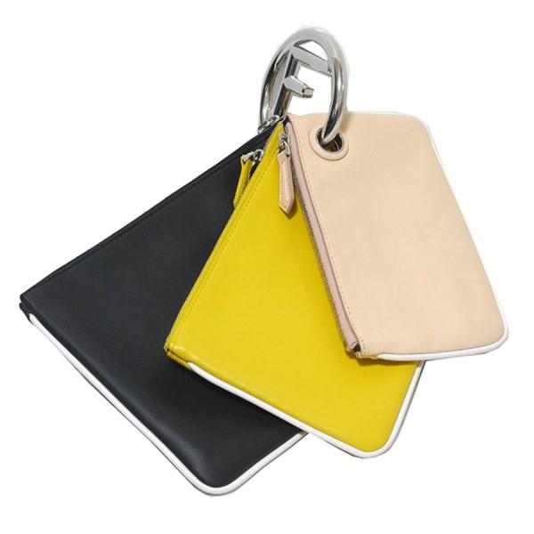 【中古】FENDI トリプレット 3連ポーチ ブラック×イエロー×ピンク サイズ:- 【170120】(フェンディ)