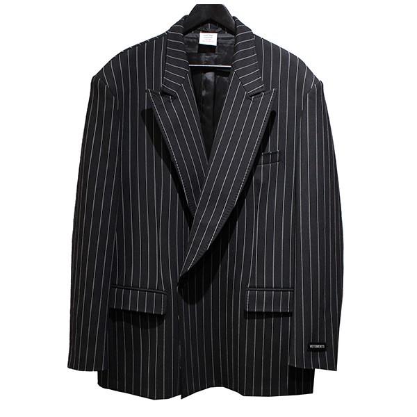 【中古】VETEMENTS 19SS Oversized Pinstriped Jacket オーバーサイズストライプジャケット ブラック サイズ:S 【170120】(ヴェトモン)