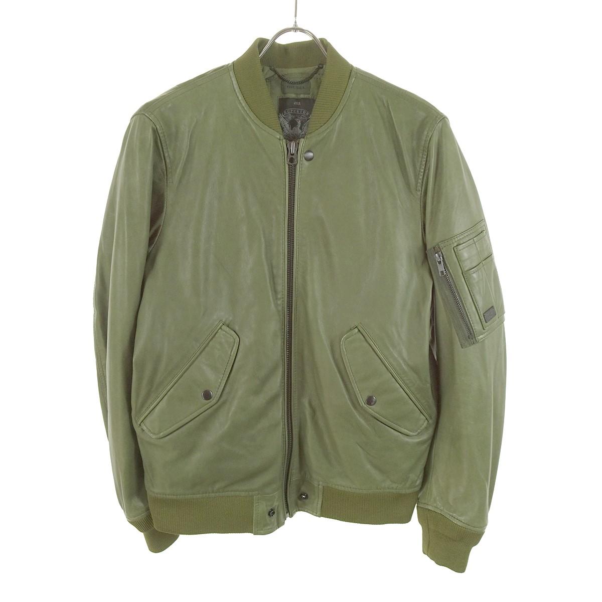 【中古】DIESEL レザー M-1ジャケット カーキ サイズ:S 【180120】(ディーゼル)