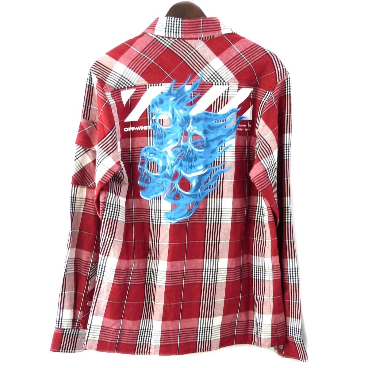 【中古】OFF WHITE 19SS「checked zip front shirt」チェックZIPフロントシャツ レッド サイズ:S 【180120】(オフホワイト)