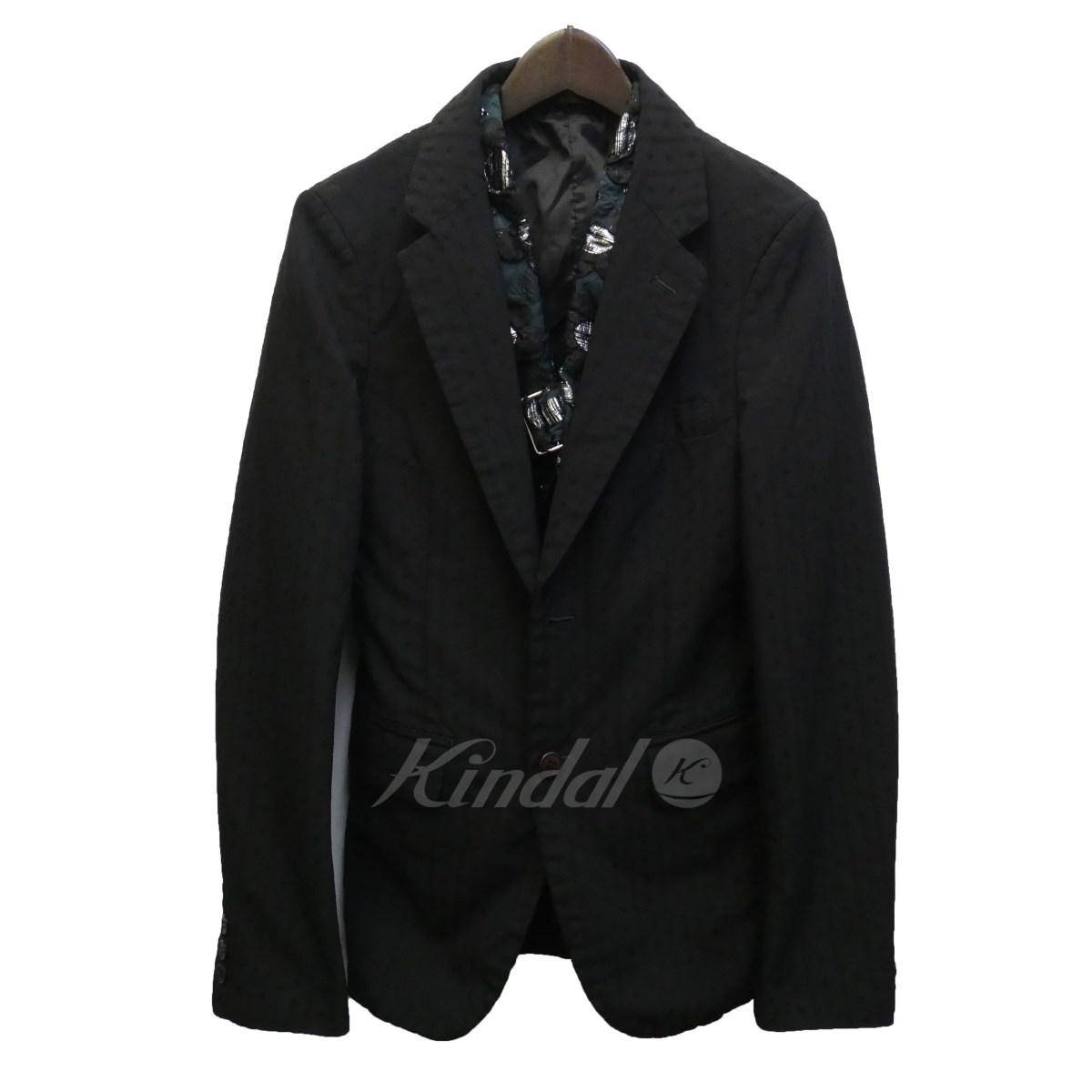 【中古】COMME des GARCONS HOMME PLUS 17AW ジレレイヤードジャガードジャケット ブラック サイズ:XS 【180120】(コムデギャルソンオムプリュス)