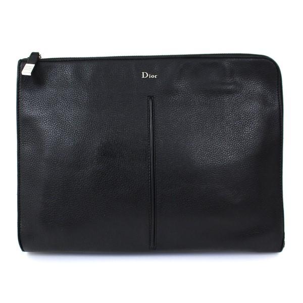 【中古】Dior Homme レザー クラッチバッグ 革 かばん ブラック サイズ:- 【180120】(ディオール オム)