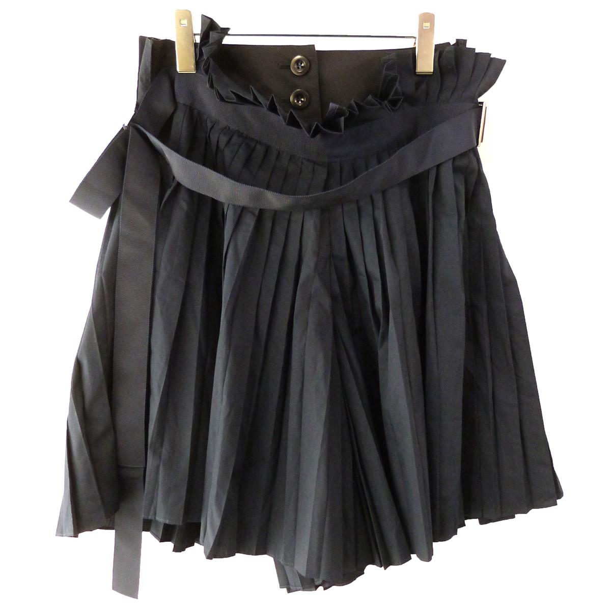 【中古】sacai プリーツレイヤードスカート ネイビー サイズ:1 【210120】(サカイ)