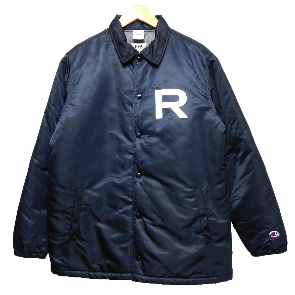 【中古】RonHerman×Champion バックプリント中綿コーチジャケット ネイビー サイズ:M 【220120】(ロンハーマン チャンピオン)