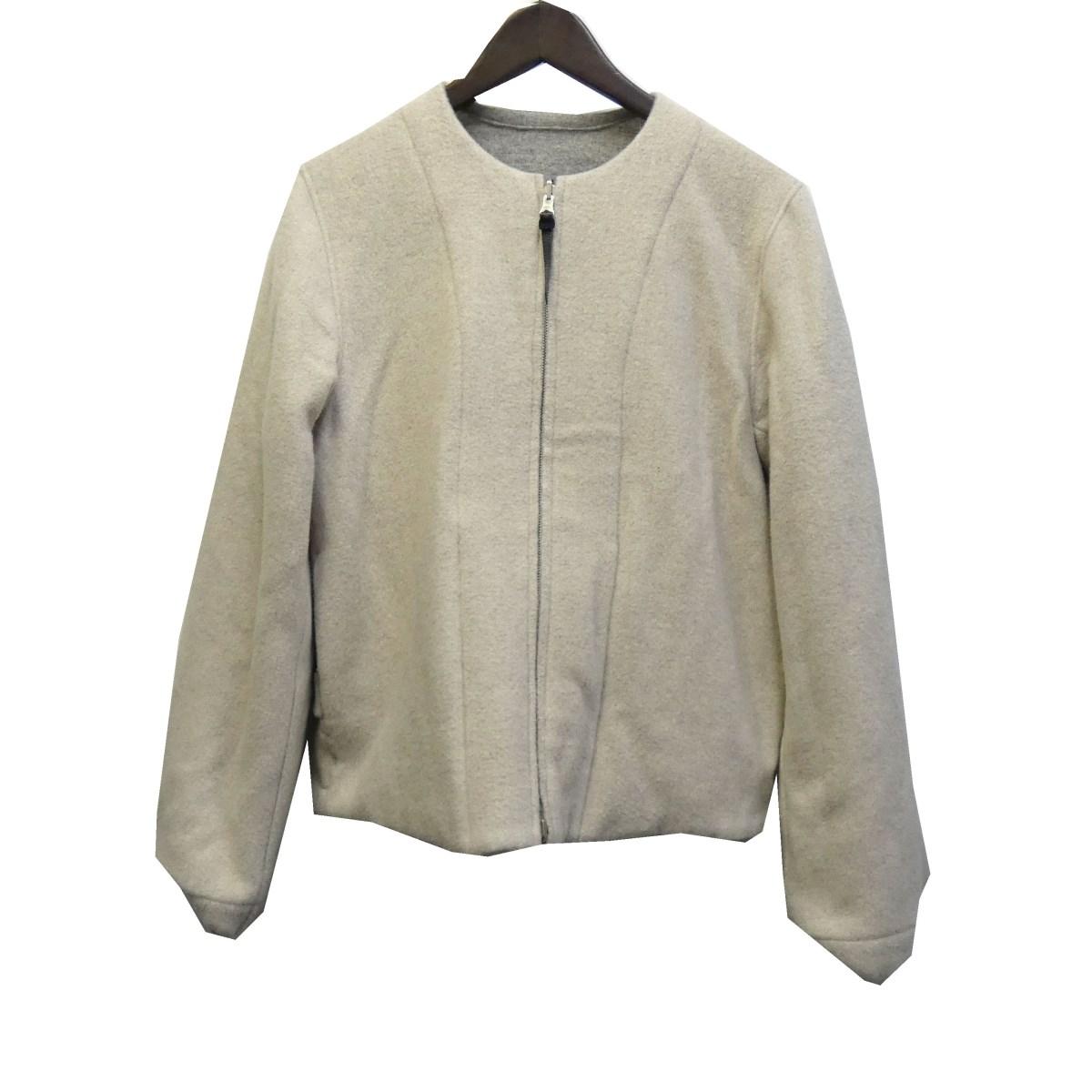 【中古】SUNSEA 14AW リバーシブルノーカラージャケット グレー×ホワイト サイズ:2 【230120】(サンシー)