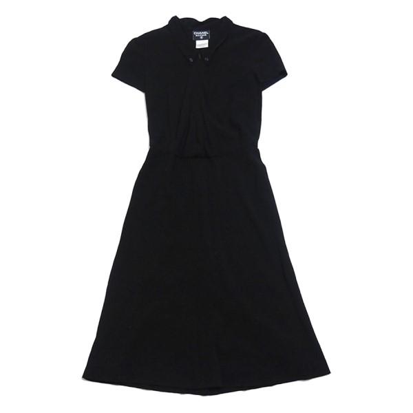 【中古】CHANEL ボタンダウン ドレス ワンピース ブラック サイズ:40 【230120】(シャネル)