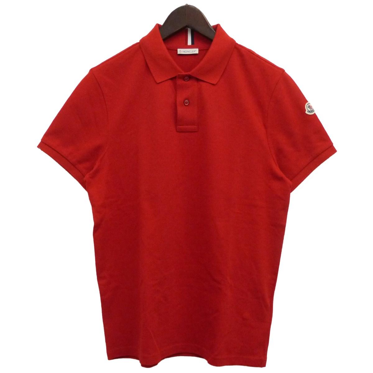 【中古】MONCLER19AW半袖ポロシャツ レッド サイズ:S