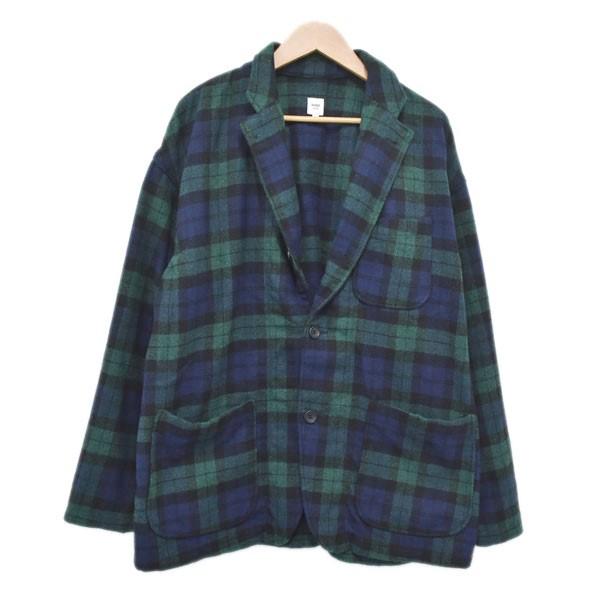 【中古】RANDT Studio Jacket 3Bチェックジャケット グリーン×ネイビー サイズ:M 【250120】(アールアンドティー)