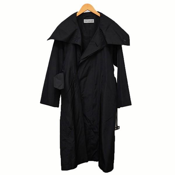 【中古】ISSEY MIYAKEシルク混ぜ トレンチコート コート ブラック サイズ:2