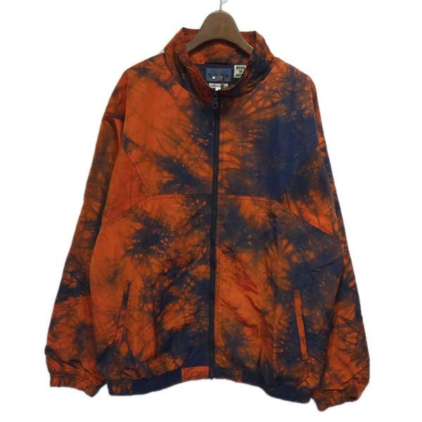 【中古】BLUE BLUE カゴゾメナイロンオックスウォームアップジャケット オレンジ×ネイビー サイズ:3 【260120】(ブルーブルー)