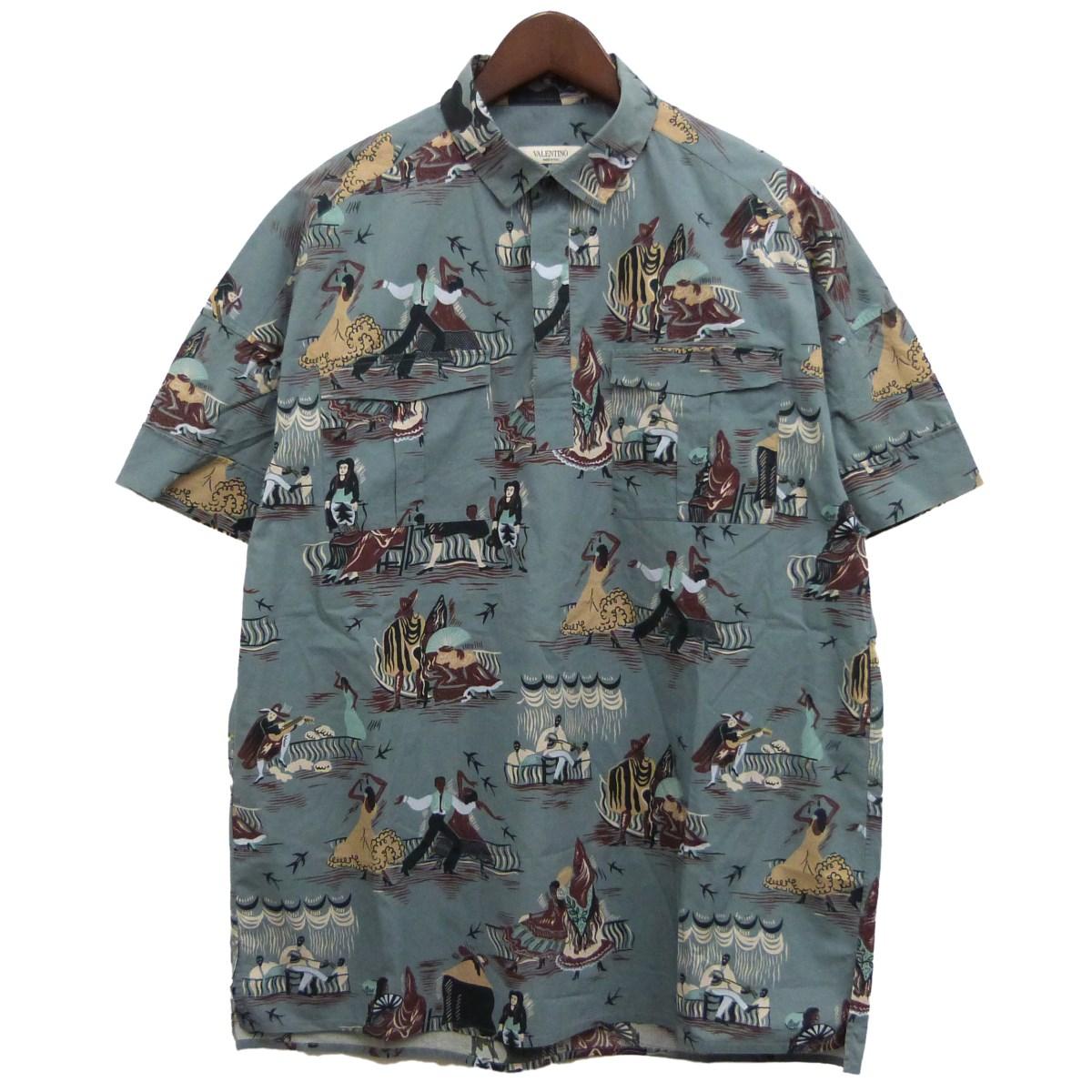 【中古】VALENTINO総柄プルオーバー半袖シャツ ブルーグレー サイズ:40