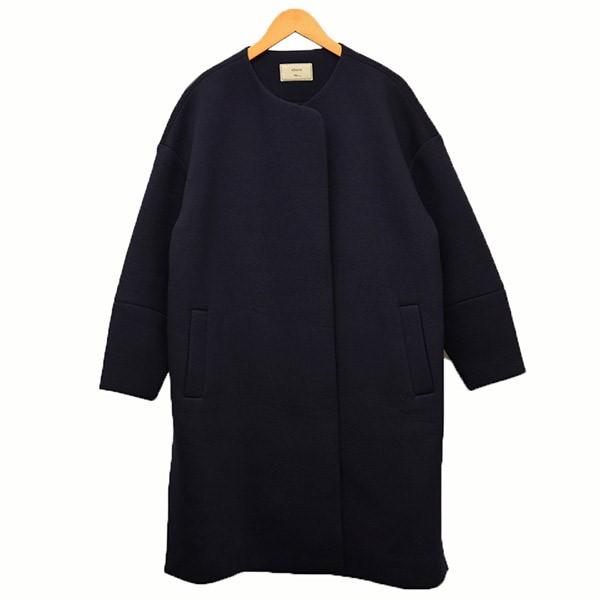 【中古】ebure×Ron Herman オーバーサイズ ボンディングコート コート ネイビー サイズ:36 【250120】(エブール×ロンハーマン)