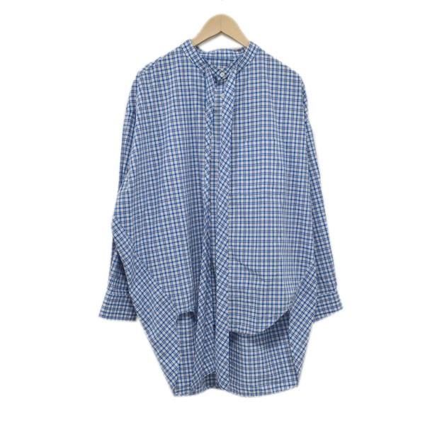【中古】BALENCIAGA18AW ニュースウィング 長袖シャツ TAM12 ブルー サイズ:34