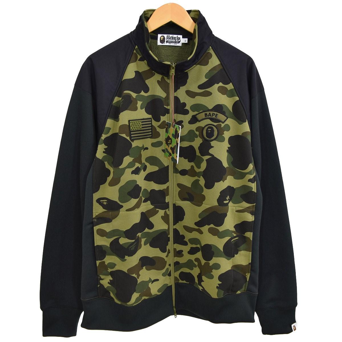 【中古】A BATHING APE Camouflage-print zipped stretch-jersey jacket グリーン サイズ:XL 【260120】(アベイシングエイプ)