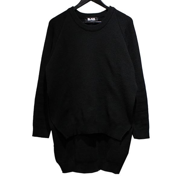 【中古】BLACK COMME des GARCONS 19AW サイドスリッドニット ラグラン セーター ブラック サイズ:L 【260120】(ブラック コムデギャルソン)