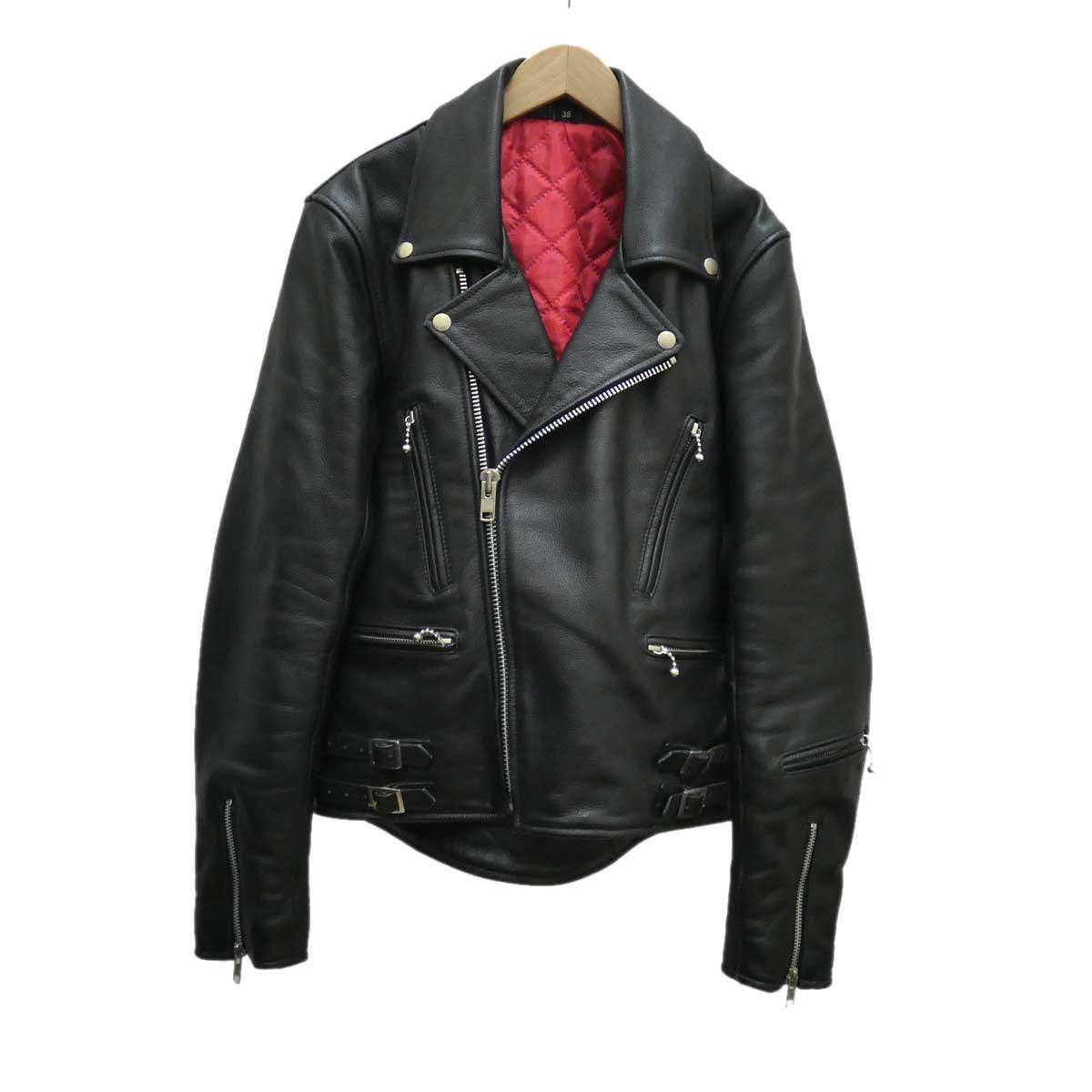 【中古】FREEDOM ダブルライダースジャケット ブラック サイズ:38 【300120】(フリーダム)