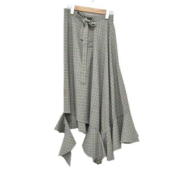 【中古】IRENE 17AW Check asymmetric skirt アシンメトリースカート グレー サイズ:36 【010220】(アイレネ)