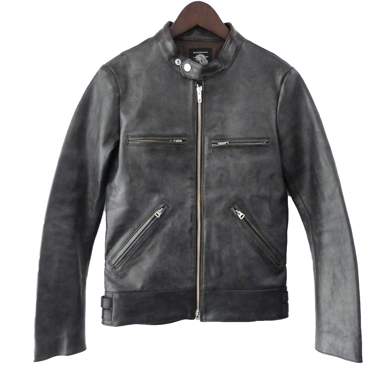 【中古】ACANTHUS 12SS シングルライダースジャケット ブラック サイズ:S 【010220】(アカンサス)