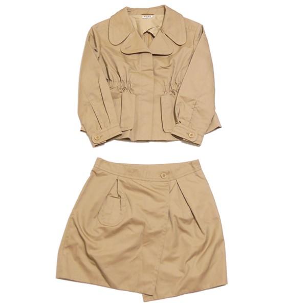 【中古】miu miu カジュアル ジャケット スカート セットアップ ブラウン サイズ:38 【010220】(ミュウミュウ)