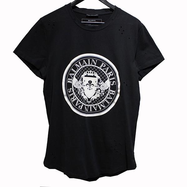【中古】BALMAIN サークルロゴ ダメージ加工Tシャツ ブラック サイズ:L 【010220】(バルマン)