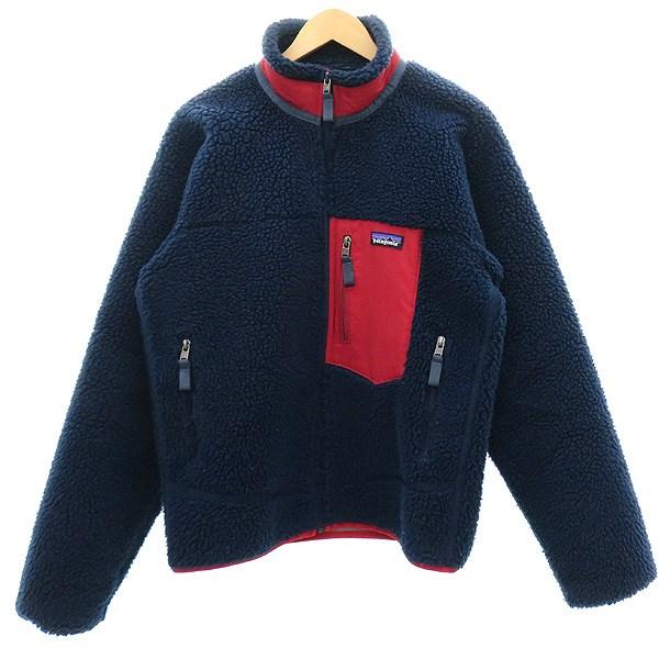 【中古】patagonia レトロXカーディガン ボアフリースジャケット ネイビー×レッド サイズ:XS 【020220】(パタゴニア)