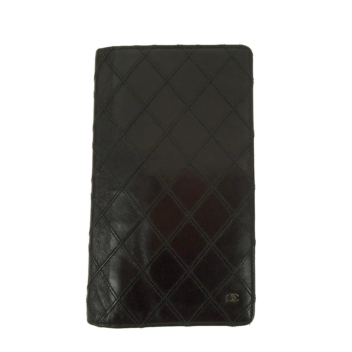 【中古】CHANEL ビコローレ Wステッチ 二つ折り長財布 ブラック サイズ:- 【020220】(シャネル)