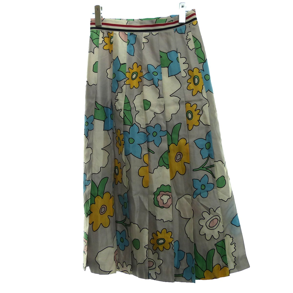 【中古】THOM BROWNE シルク総柄スカート グレー サイズ:40 【020220】(トム・ブラウン)