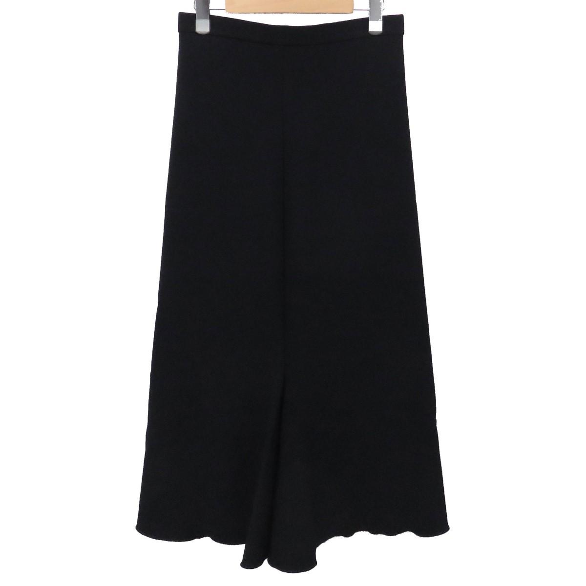 【中古】HERMES マルジェラ期 デザインロングスカート ウールスカート ブラック サイズ:34 【020220】(エルメス)
