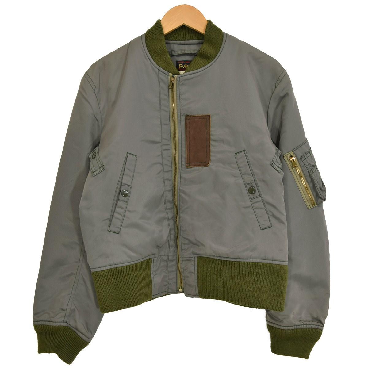 【中古】EVISU MA-1ジャケット 初期EVISU三角タグ セージグリーン サイズ:38 【040220】(エヴィス)