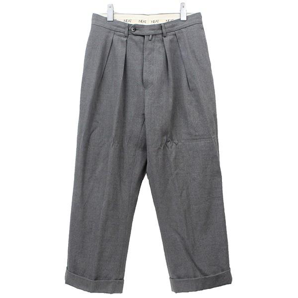 【中古】NEATCotton Wool Hop Sack Wide  ワイドスラックスパンツ グレー サイズ:46【3月5日見直し】