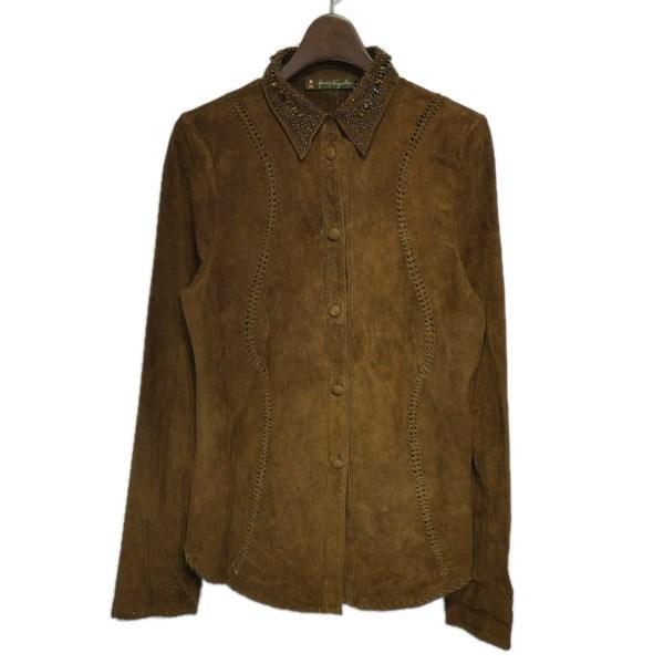 【中古】HENRY BEGUELIN ビジュー装飾レザーシャツ ブラウン サイズ:Free 【060220】(エンリーベグリン)