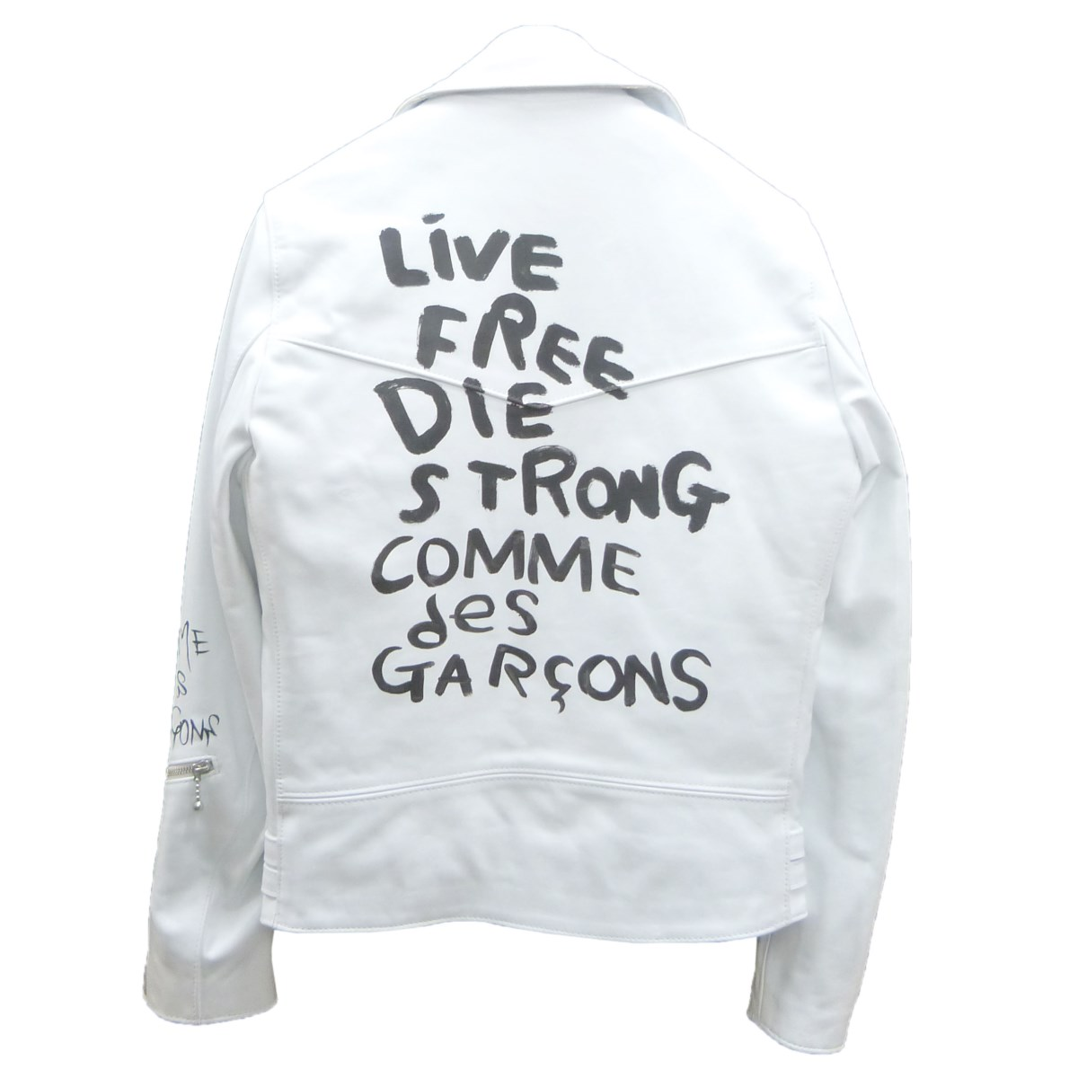 【中古】COMME des GARCONS×Lewis Leathers ホースレザーダブルライダースジャケット ホワイト サイズ:36 【060220】(コムデギャルソン×ルイスレザー)