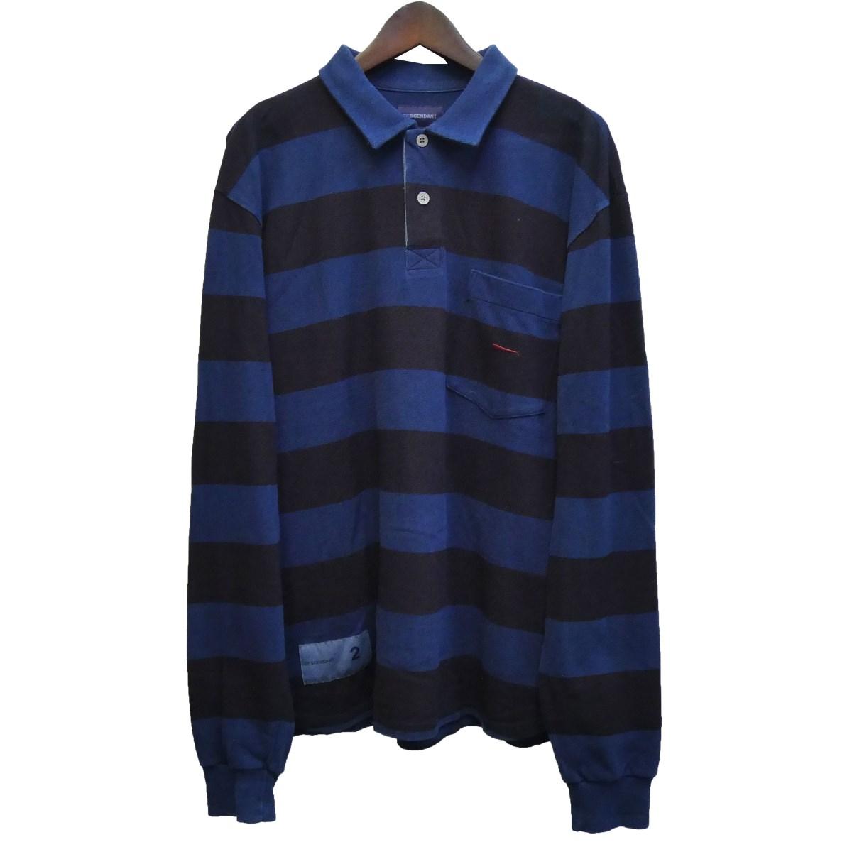【中古】DESCENDANT×Ron Herman 18SS 「PLO/POLO LS INDIGO 2」ボーダーポロシャツ ブルー×ブラック サイズ:2 【060220】(ディセンダント ロンハーマン)