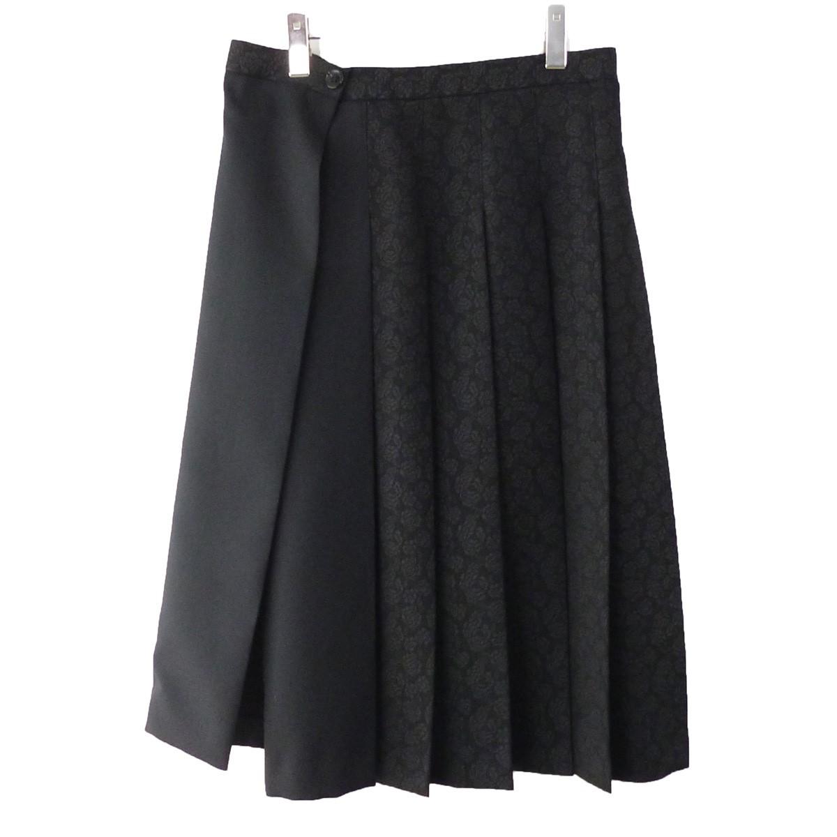 【中古】tricot COMME des GARCONS 17AW ローズプリントスカート ブラック サイズ:M 【070220】(トリココムデギャルソン)