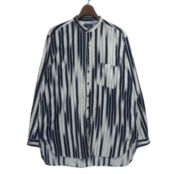【中古】BLUE BLUE 2019SS アメフリストライプバンドカラーシャツ ホワイト×ネイビー サイズ:2 【070220】(ブルーブルー)