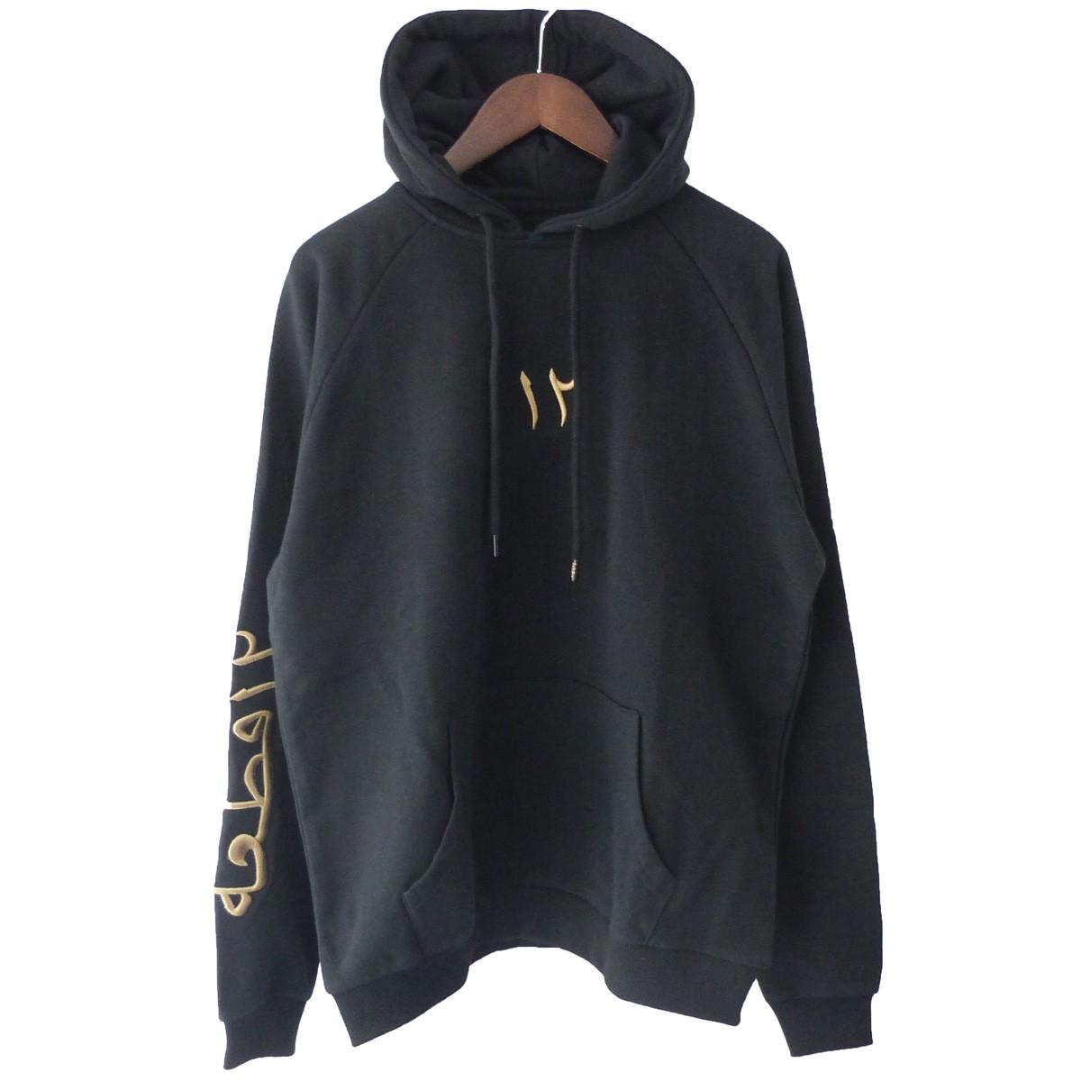 【中古】Twelvepieces 「twelve hoodie」刺繍プルオーバーパーカー ブラック サイズ:S 【080220】(トゥエルヴ ピーシーズ)