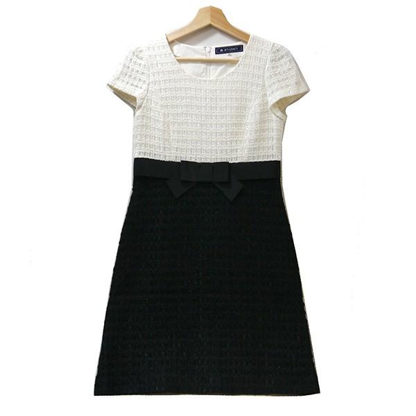 【中古】MS GRACY リボンデザインツイードワンピース ブラック×ホワイト サイズ:38 【080220】(エムズグレイシー)