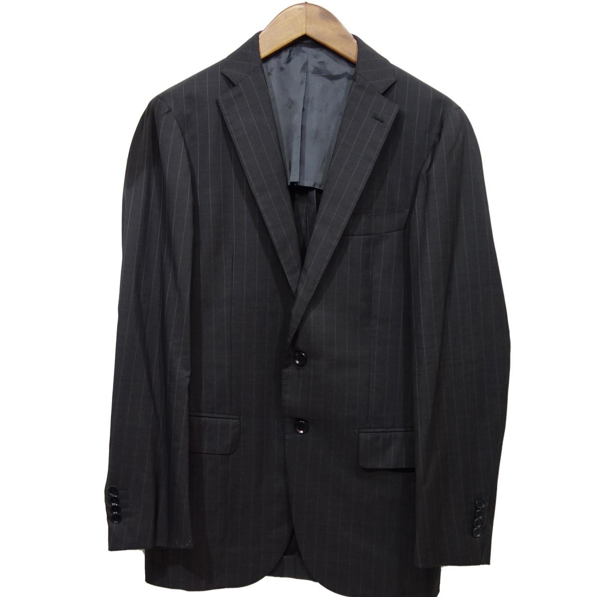 【中古】Ring Jacket ウールストライプ2Bテーラードジャケット グレー サイズ:46 【090220】(リングジャケット)