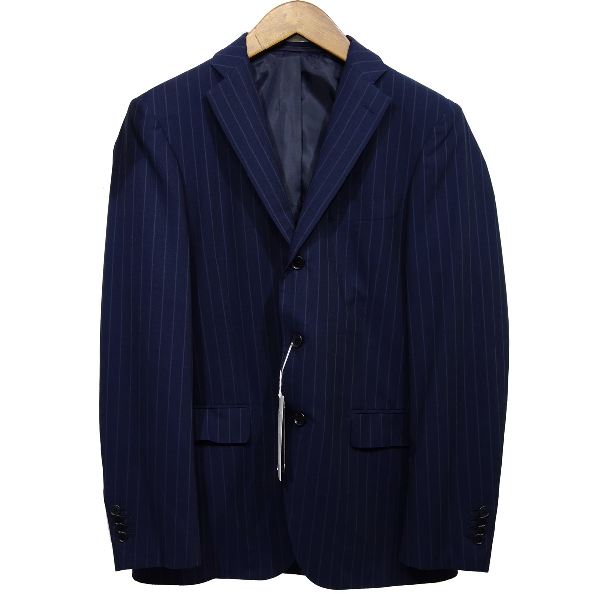 【中古】Ring Jacket ストライプ3Bウールジャケット ネイビー サイズ:44 【090220】(リングジャケット)