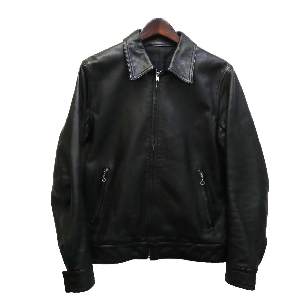 【中古】WACKO MARIA 09AW 襟付きシングルレザージャケット ブラック サイズ:S 【100220】(ワコマリア)