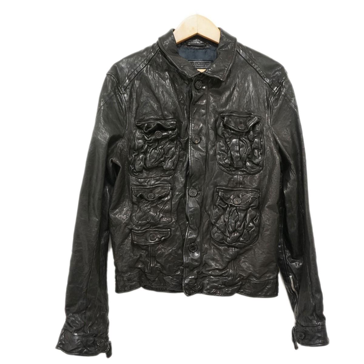 【中古】Neil Barrettバッファローレザージャケット ブラック サイズ:XXS 【4月23日見直し】