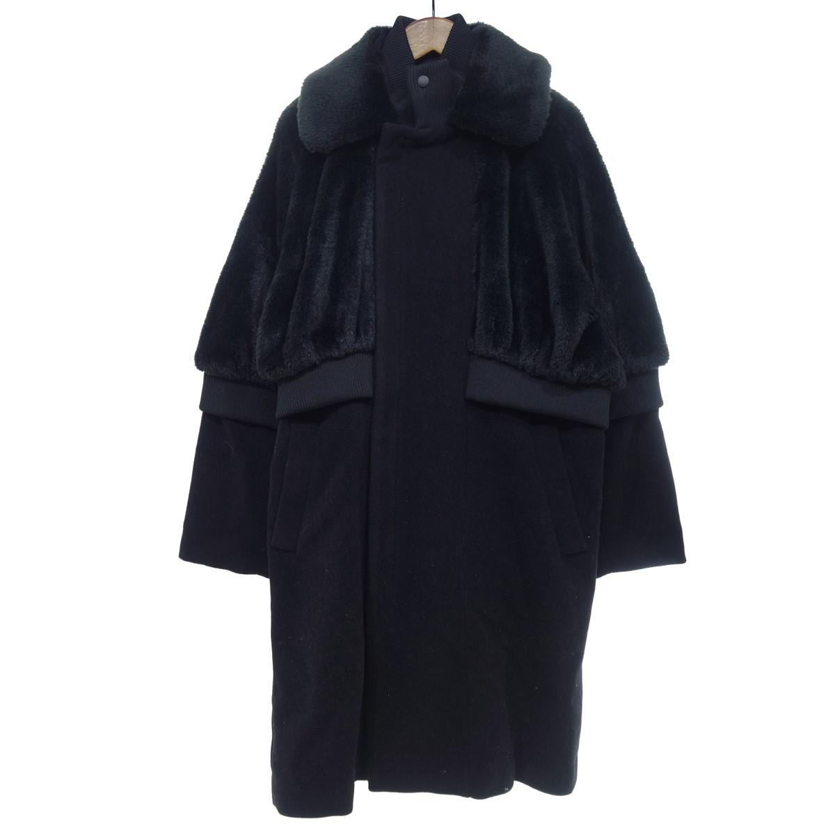 【中古】mint designs レイヤード風ファーコート ブラック サイズ:M 【110220】(ミントデザインズ)