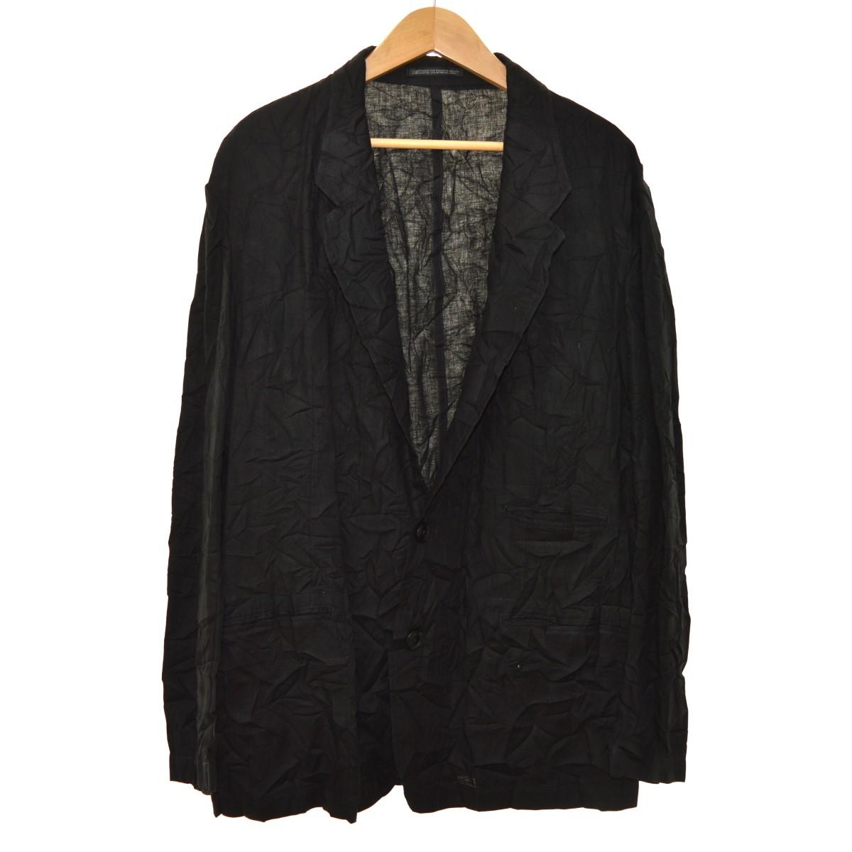 【中古】YOHJI YAMAMOTO pour homme 19SS 綿麻ツイル シワ加工 テーラードジャケット ブラック サイズ:3 【130220】(ヨウジヤマモトプールオム)
