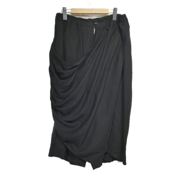 【中古】B Yohji Yamamoto 2017AW「B/DRAPE SKIRT PANTS」イージースカートパンツ ブラック サイズ:2 【130220】(ビー ヨウジヤマモト)
