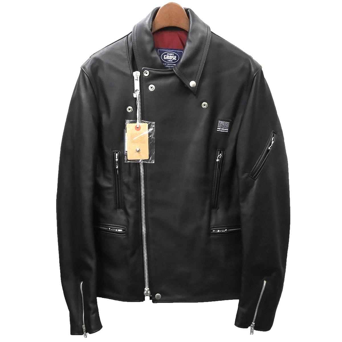 【中古】JAMES GROSEライダースジャケット ブラック サイズ:38 【4月16日見直し】