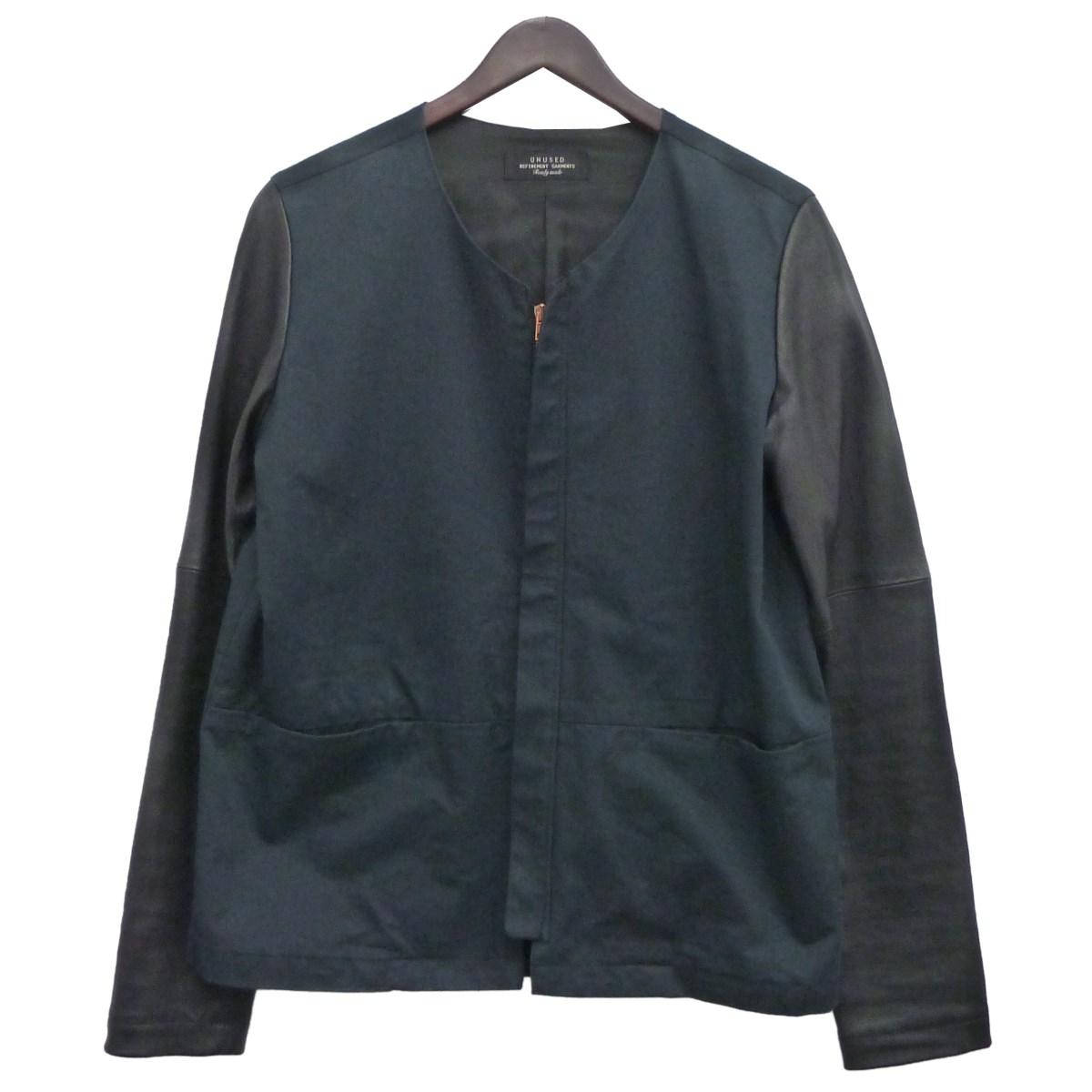 【中古】UNUSEDアームレザーカラーレスジャケット ダークネイビー×ブラック サイズ:1 【5月11日見直し】