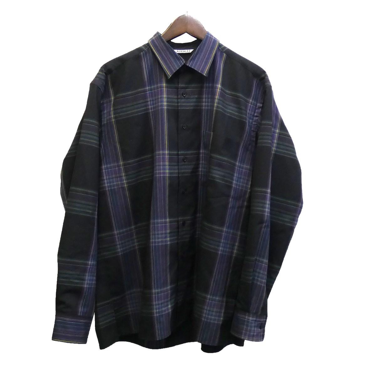 【中古】AURALEE 19AW 「SUPER LIGHT WOOL CHECK SHIRTS」チェックシャツ ブラック サイズ:3 【130220】(オーラリー)