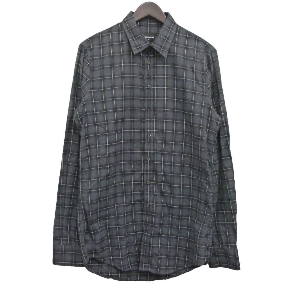 【中古】DSQUARED218AWチェックシャツ グレー サイズ:46
